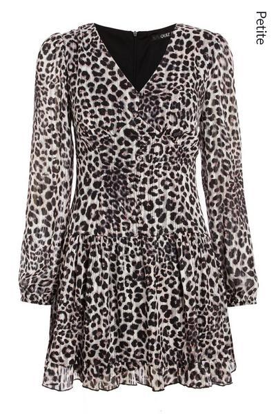 Petite Grey Leopard Chiffon Skater Dress
